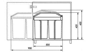 Vestavný koš na tříděný odpad Hailo Multibox 2x14 litrů
