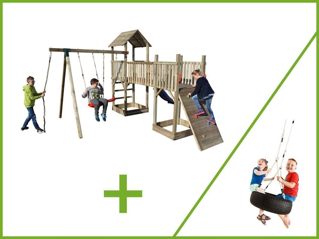 Dětské hřiště se skluzavkou Palác zábav 2 věže 4100x2800x4800 mm + houpačka PNEU