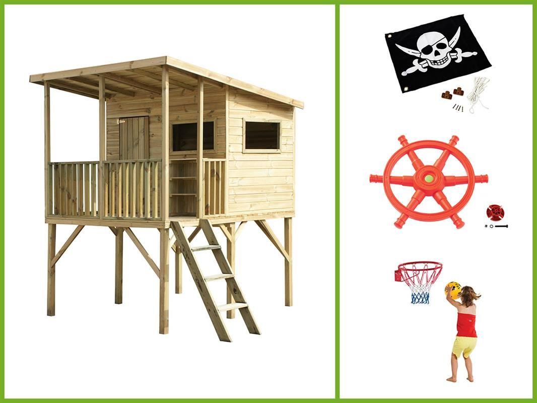 Dětský zahradní domek ROBINSON 1745x2700x2200 mm +kormidlo, vlajka, basketbalový koš