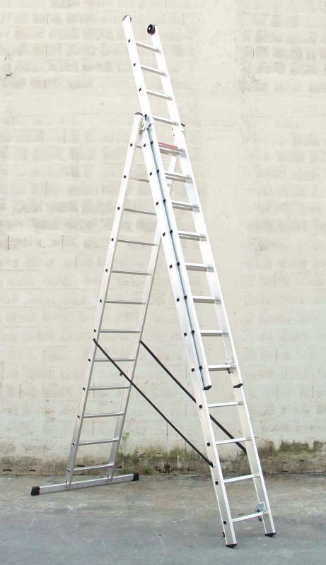 Třídílný hliníkový žebřík profi 3x15 příček