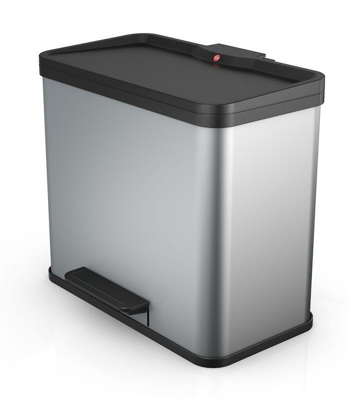 Koš na tříděný odpad Hailo Öko trio Plus L 3x9 litrů - stříbrný 0633-220