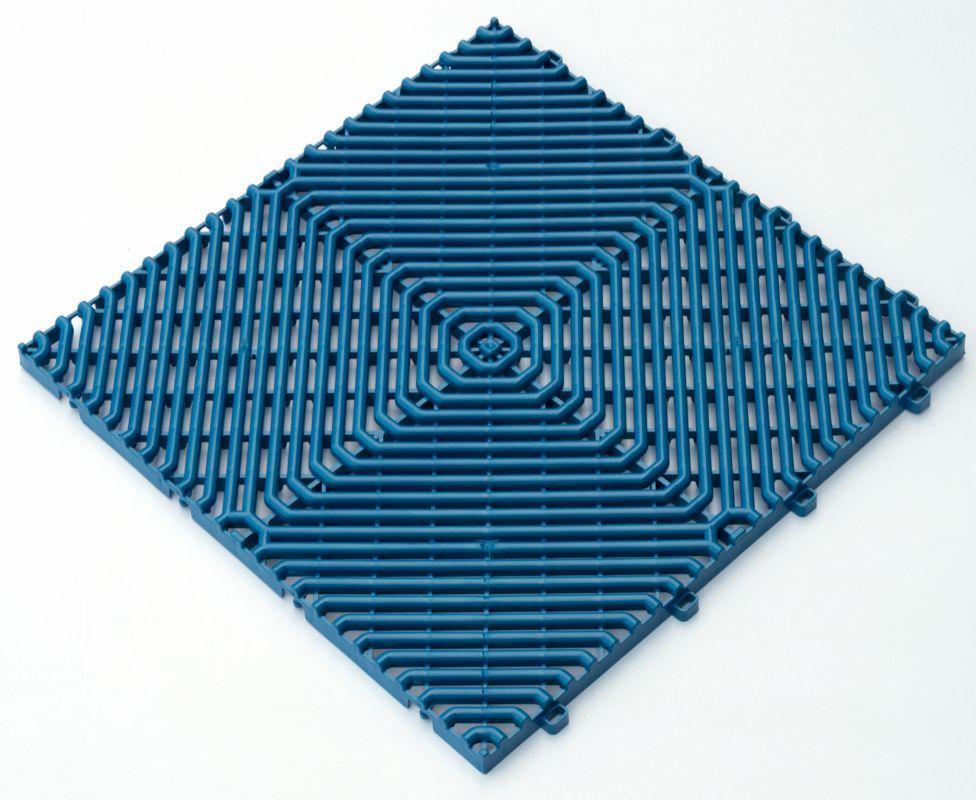 Interiérová plastová rohož ROMBO děrovaná modrá 385x385 mm