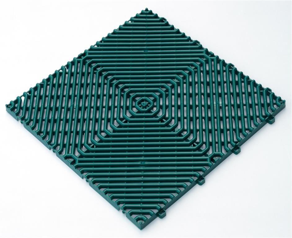 Interiérová plastová rohož ROMBO děrovaná zelená 385x385 mm