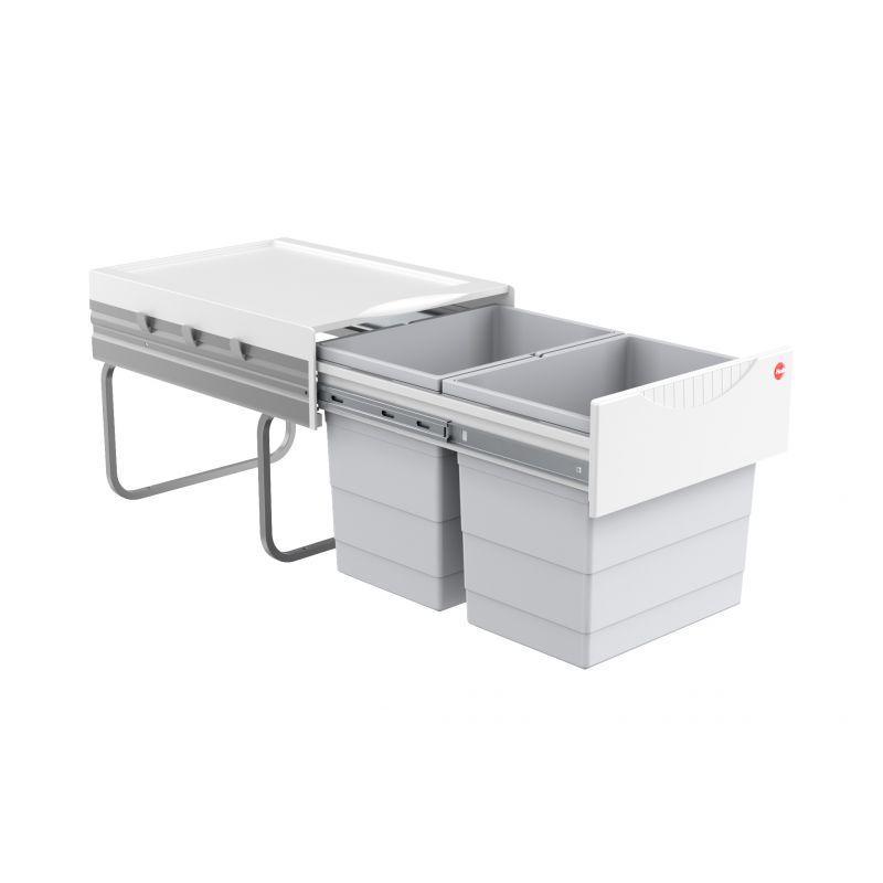 Výsuvný odpadkový koš na tříděný odpad Hailo AS Raumspar Tandem 18/18 světle šedý