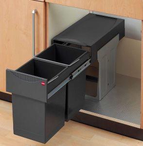 Výsuvný odpadkový koš na tříděný odpad Hailo AS Tandem 15/15 tmavě šedý