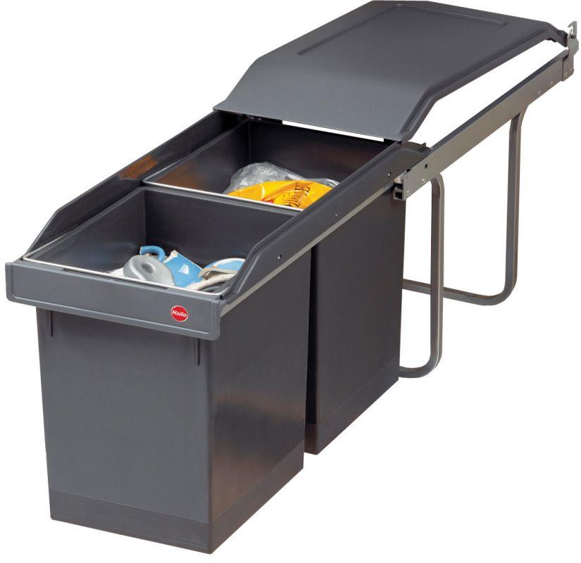 Výsuvný odpadkový koš na tříděný odpad Hailo AS Tandem 15/15 tmavě šedý II