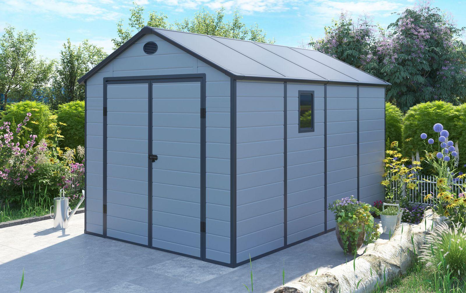 Zahradní domek na nářadí G21 PAH 882 - 241x366 cm plast šedý - světle šedý